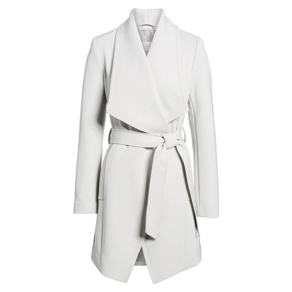 T Tahari Abbey Silver Gray Wrap Belted Trench Coat. Opens flyout.