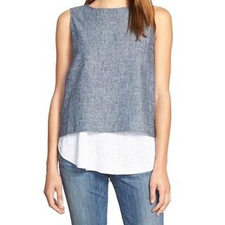Eileen Fisher NEW Blue Women's Size Medium M Hemp/Cotton Blend Blouse