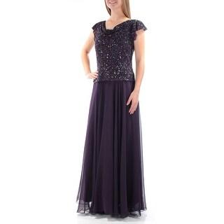 JKARA $239 Womens New 1729 Purple Beaded Cap Sleeve Fit + Flare Dress 6 B+B
