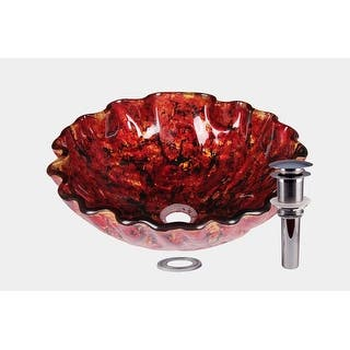 Jano Rocky Lava Circular Tempered Gl Vessel Bathroom Sink With Pop Up Drain