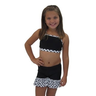 Girls Black White Polka Dotted Cheer and Dance Top Shorts Set