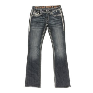 Rock Revival Womens Dee Low-Rise Contrast Trim Bootcut Jeans