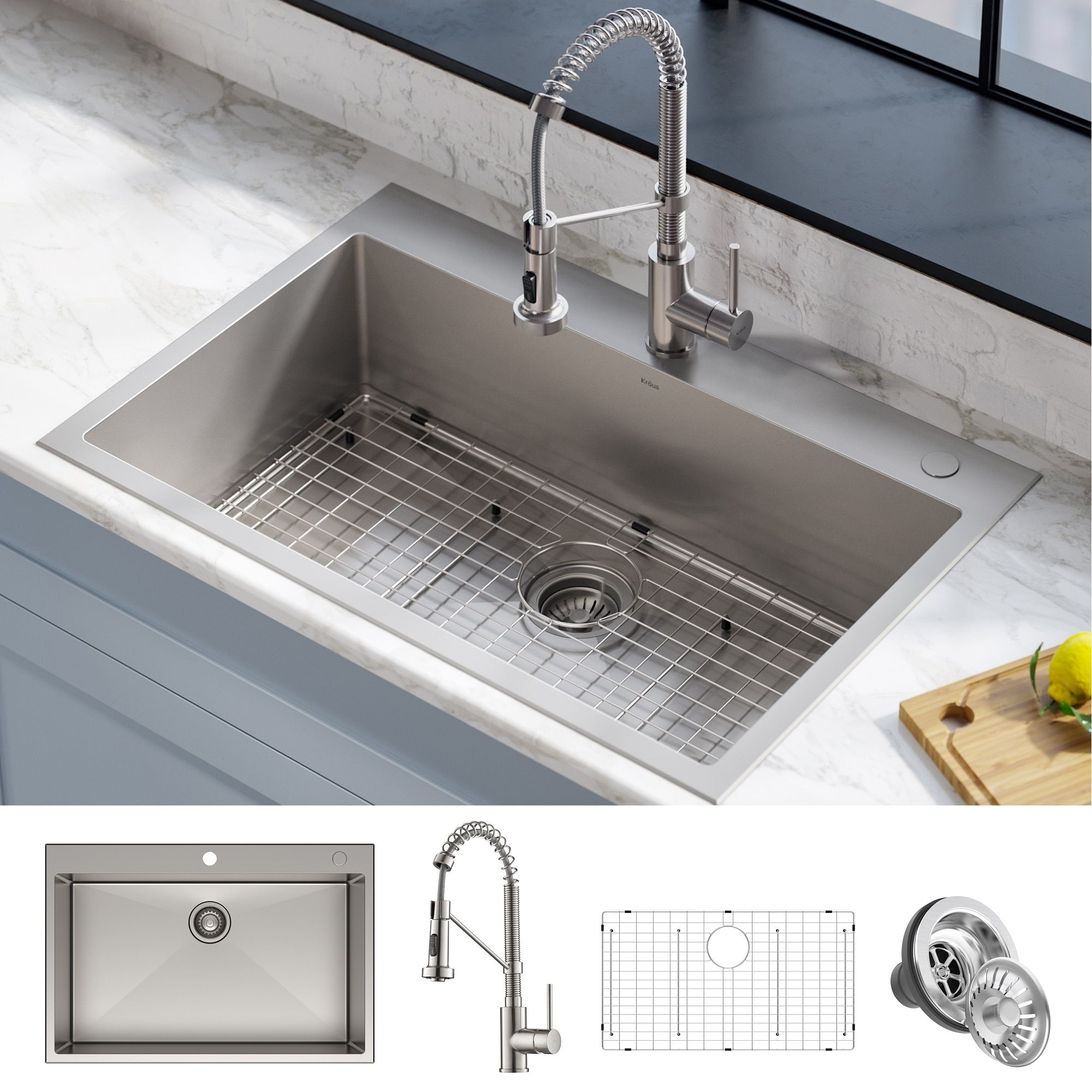 Picture of: Kraus Stark 33 Inch Undermount Drop In Kitchen Sink Pulldown Faucet Combo Overstock 28626044