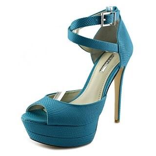 BCBGeneration Vix Women Open Toe Leather Blue Platform Sandal