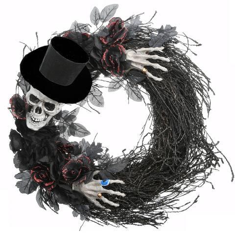 """21"""" Halloween Top Hat Skeleton Wreath"""