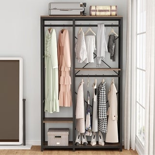 Link to Double Rod Closet Organizer Clothes Garment Rack - Brown Similar Items in Storage & Organization