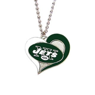 New York Jets NFL Swirl Heart Necklace