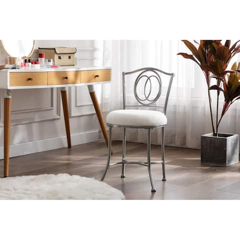 Porthos Home Parker Silver Iron Wrought Accent Vanity Chair, Suede