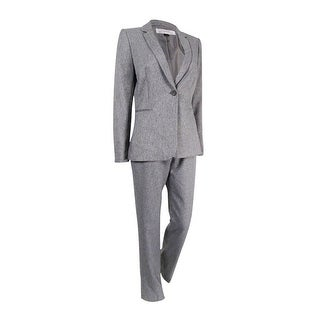 Tahari Women's One-Button Twill Pantsuit - Heather Grey