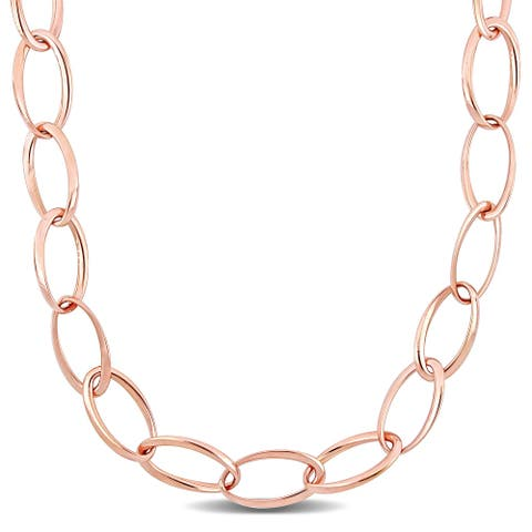 Miadora 18k Rose Gold Oval Link Necklace