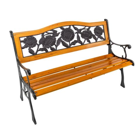 Metal and Wood Bench Sunflower - 49.6x30.7x23.62