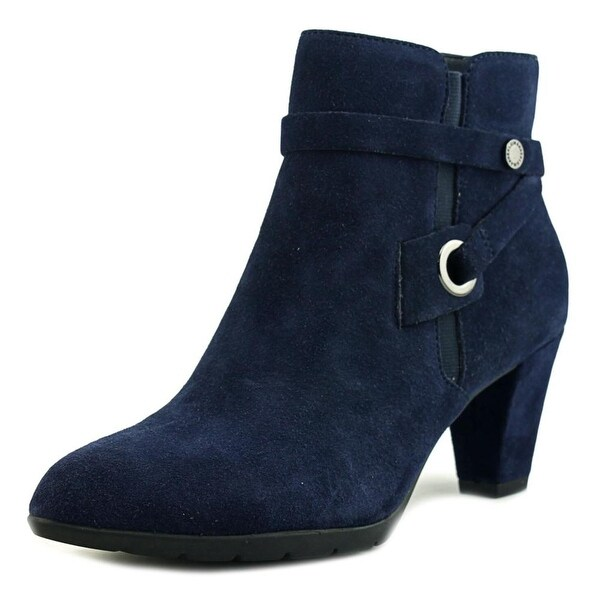 Anne Klein Chelsey Women Pointed Toe Leather Blue Ankle Boot