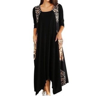 Funfash Plus Size Women Black Caramel Long Sleeves Maxi Long Dress