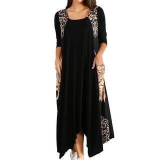 6369c774ffc Funfash Plus Size Women Black Caramel Long Sleeves Maxi Long Dress