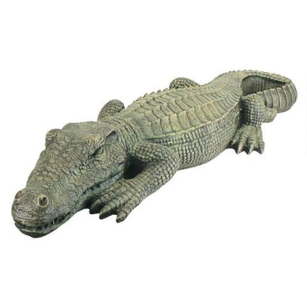 "37"" Crocodile Hand Painted Outdoor Garden Statue - N/A"