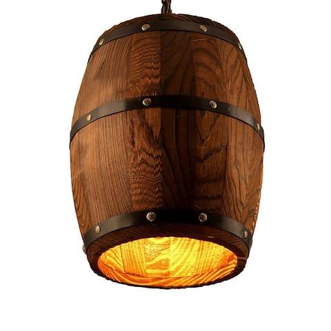 Industrial wine barrel wooden pendant light - wood/antique