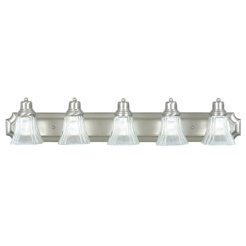 Sunset Lighting Denman Five Light Vanity, Prismatic Clear Glass Dimmable with Satin Nickel Finish