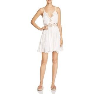 Free People Womens Ilektra Mini Dress Cotton Lace Trim