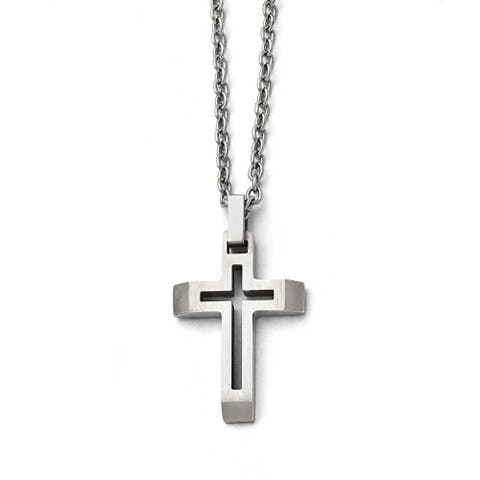 Chisel Stainless Steel Polished and Brushed Cut-out Cross Necklace - 20 in