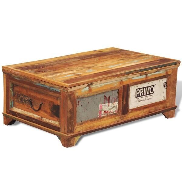 Shop Vidaxl Coffee Table With Storage Vintage Reclaimed Wood