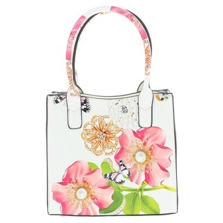 Link to Mellow World Womens Saddie Satchel Handbag Patent Vegan Leather - White Floral - Small Similar Items in Shop By Style