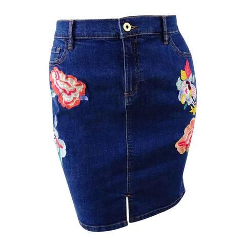 Tommy Hilfiger Women's Embroidered Denim Skirt (14, Blue) - Blue - 14