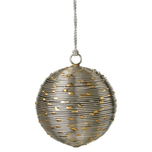 "3"" Gold Dotted Gunmetal Grey Wire Industrial Style Christmas Ball Ornament"