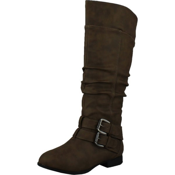 Top Moda Womens Coco-20 Knee High Round Toe Buckle Slouched Riding Flat Boots