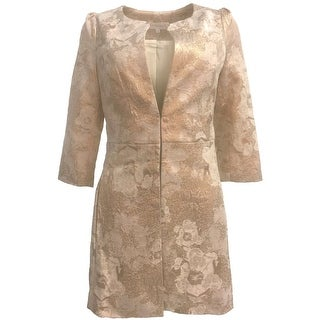 Ariana Rockefeller Emily Brocade 3/4 Sleeve Open Front Jacket Coat Gold