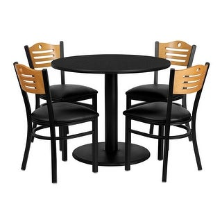 Offex 36'' Round Black Laminate Table Set with Wood Slat Back Metal Chair and Black Vinyl Seat