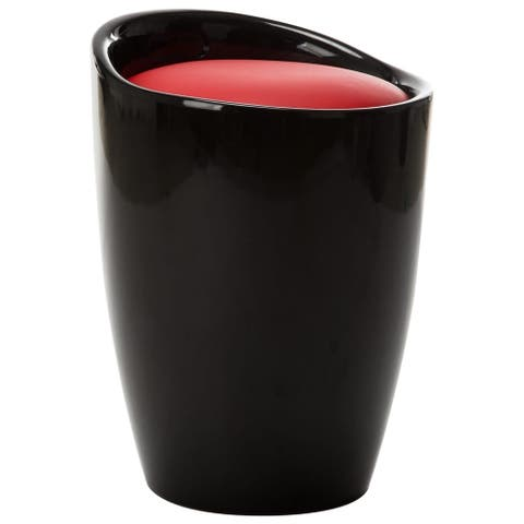 vidaXL Storage Stool Black and Red Faux Leather