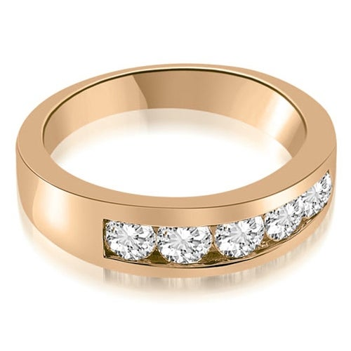 1.00 cttw. 14K Rose Gold Classic Channel Round Cut Diamond Wedding Band