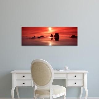 Easy Art Prints Panoramic Image 'Sea stacks at sunset, Second Beach, Olympic National Park, Washington' Canvas Art
