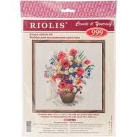 """Summer Flowers & Poppies Counted Cross Stitch Kit-17.75""""X17.75"""" 15 Count"""