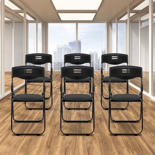 Office Conference Plastic Folding Chair Black Set of 4/5/6