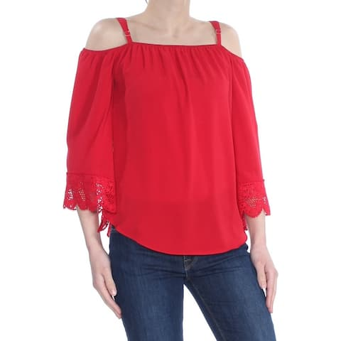 BCX Womens Red Crocheted Off Shoulder Wear To Work Top Size: S