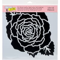 "Large Rose - Crafter's Workshop Template 12""X12"""