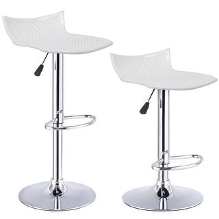 Costway Set of 2 Adjustable Swivel Bar Stools ABS Seat Bar Pub Kitchen Dinning Chair