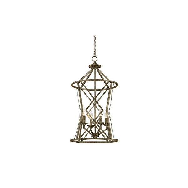"""Millennium Lighting 2294 Lakewood 4-Light 16"""" Wide Foyer Pendant with Cage Frame and Candle Style Lights"""