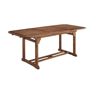 WE Furniture Acacia Wood Patio Butterfly Dining Table - Dark Brown