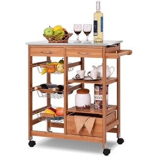 Costway Bamboo Rolling Kitchen Island Trolley Cart Storage Shelf Drawers - as pic
