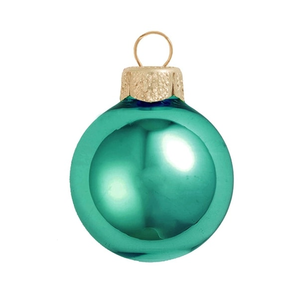 "6ct Shiny Turquoise Blue Glass Ball Christmas Ornaments 4"" (100mm)"