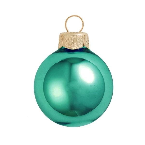 "Shiny Turquoise Blue Glass Ball Christmas Ornament 7"" (180mm)"