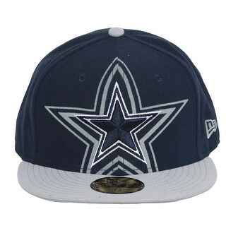 Dallas Cowboys Star Logo with Star Shadow Fitted Cap - Navy w/ Silver