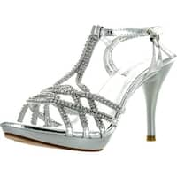 Delicacy Womens Essential74 Open Toe Rhinestone Strappy Stiletto High Heel Sandal Shoes - Silver