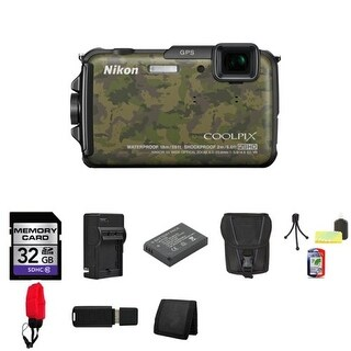 Nikon COOLPIX AW110 Digital Camera (Camouflage) 26413 + 32GB SDHC Class 10 Memory Card Bundle