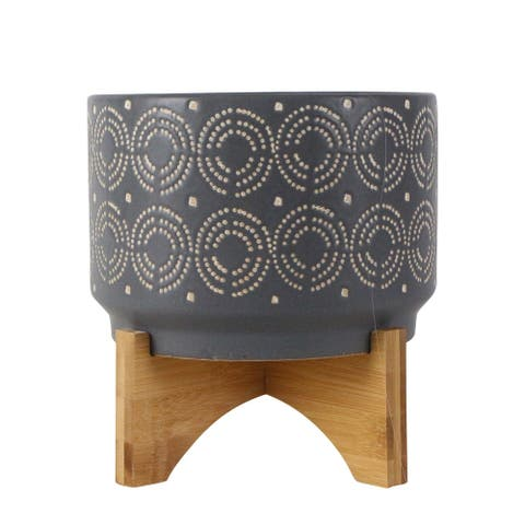 """8"""" Gray and Brown Swirl Ceramic Planter on Stand"""