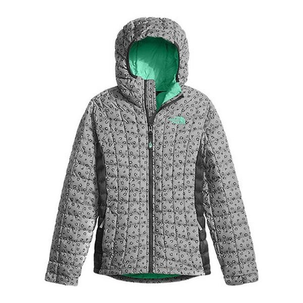033beedd1 Shop The North Face Girls' ThermoBall Hoodie Metallic Silver Leopard ...