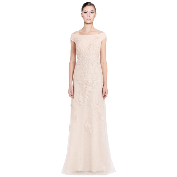 Shop Teri Jon Off Shoulder Embroidered Lace Evening Gown Dress Pink ...