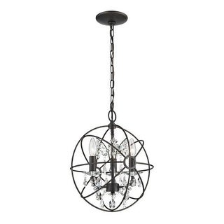 Sterling Industries 124-003 3 Light Foyer Globe Pendant with Crystal Insets